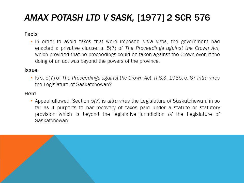 Amax Potash Ltd v Sask, [1977] 2 SCR 576